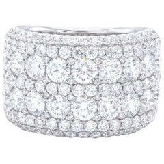David Rosenberg 4.27 Total Carat 18 Karat Gold Round Wide Band Diamond Ring