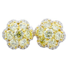 David Rosenberg 4.33 Carat Fancy Light Yellow, Flower Stud Diamond Earrings
