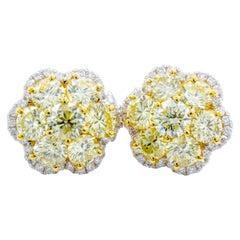 David Rosenberg 4.33 Carat Fancy Light Yellow, Flower Stud Diamond Earrings