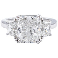 David Rosenberg 4.34 Carat Radiant GIA Platinum Engagement Diamond Ring