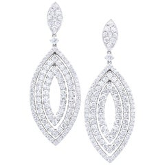David Rosenberg 4.59 Total Carat Marquise Shape Dangling Diamond Earrings