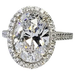 David Rosenberg 5.02 Carat Oval Shape D/VS2 GIA Diamond Engagement Ring