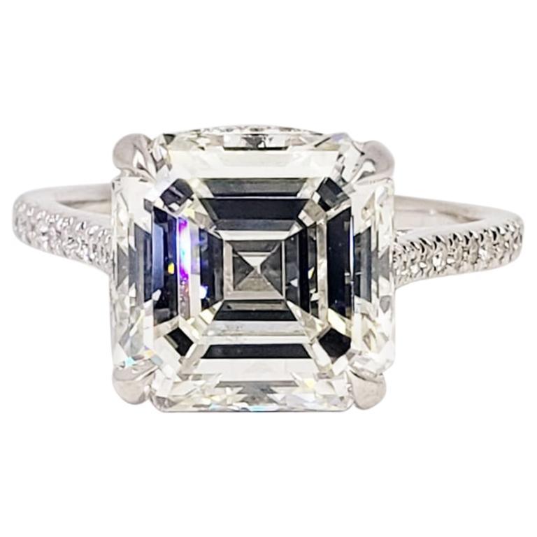 David Rosenberg 5.06 Carat Asscher Cut K/VS2 GIA Diamond Engagement Ring
