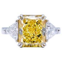 David Rosenberg 5.68 ct Fancy Light Yellow Radiant GIA Diamond Engagement Ring