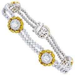 David Rosenberg 5.77 Total Carats White and Natural Fancy Diamond Bracelet