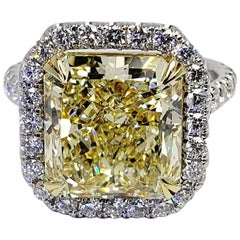 David Rosenberg 5.94 Carat Radiant Fancy Yellow VS2 GIA Diamond Engagement Ring