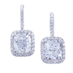 David Rosenberg 6.03 Carat Cushion Cut GIA Certified Platinum Diamond Earrings