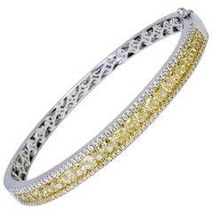 David Rosenberg 6.13 Total Carat Weight Fancy Yellow and White Diamond Bangle