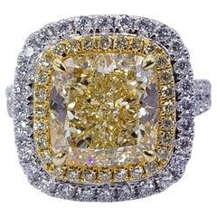 David Rosenberg 6.14 Cushion Light Yellow GIA Halo Diamond Engagement Ring