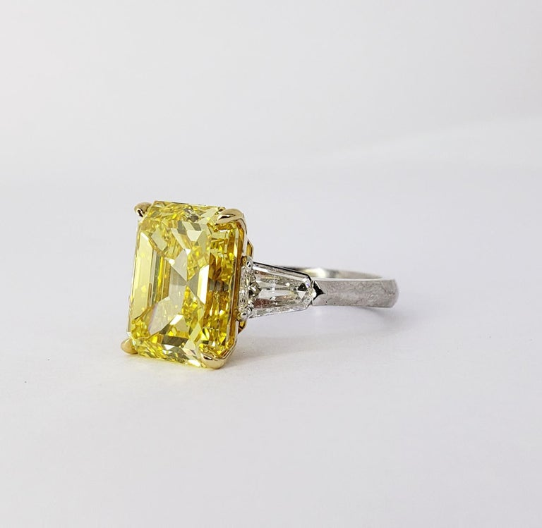Emerald Cut David Rosenberg 6.40ct Emerald Fancy Vivid Yellow GIA Diamond Engagement Ring For Sale