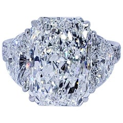 David Rosenberg 6.81 Carat Radiant H/SI1 GIA 3-Stone Diamond Engagement Ring