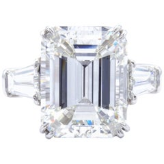 David Rosenberg 7.07 Carat Emerald Cut GIA Three-Stone Diamond Engagement Ring