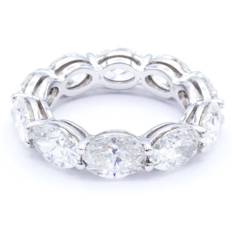 705e02ea61c890 Modern David Rosenberg 7.44 Carat Platinum Oval Shape Diamond Eternity  Wedding Band For Sale