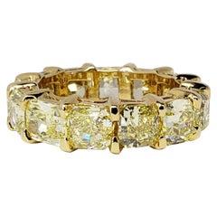 David Rosenberg 9.02 Carat Total Radiant FIY GIA Diamond Eternity Wedding Band