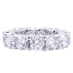David Rosenberg 9.75ct Round Brilliant Platinum Diamond Eternity Wedding Band