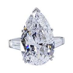 David Rosenberg 9.77 Carat Pear Shape D/VVS2 GIA Diamond Engagement Ring