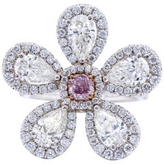 David Rosenberg Fancy Purple Pink Radiant GIA Pear Shape Flower Diamond Ring