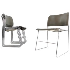 David Rowland 1960s 40/4 Industrial Metal Chairs for Howe, Denmark