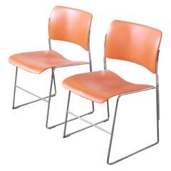David Rowland 40/4 Orange and Chrome Stacking Chairs, Pair