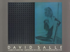 "David Salle-At Boone-Castelli-27.5"" x 37""-Poster-1982-Pop Art-Blue, Gray-woman"