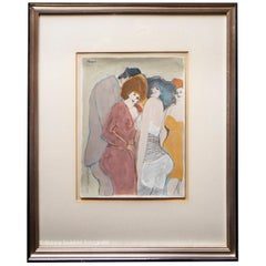 David Schneuer - Three Ladies and a Gentleman - Gouache on Paper, Framed
