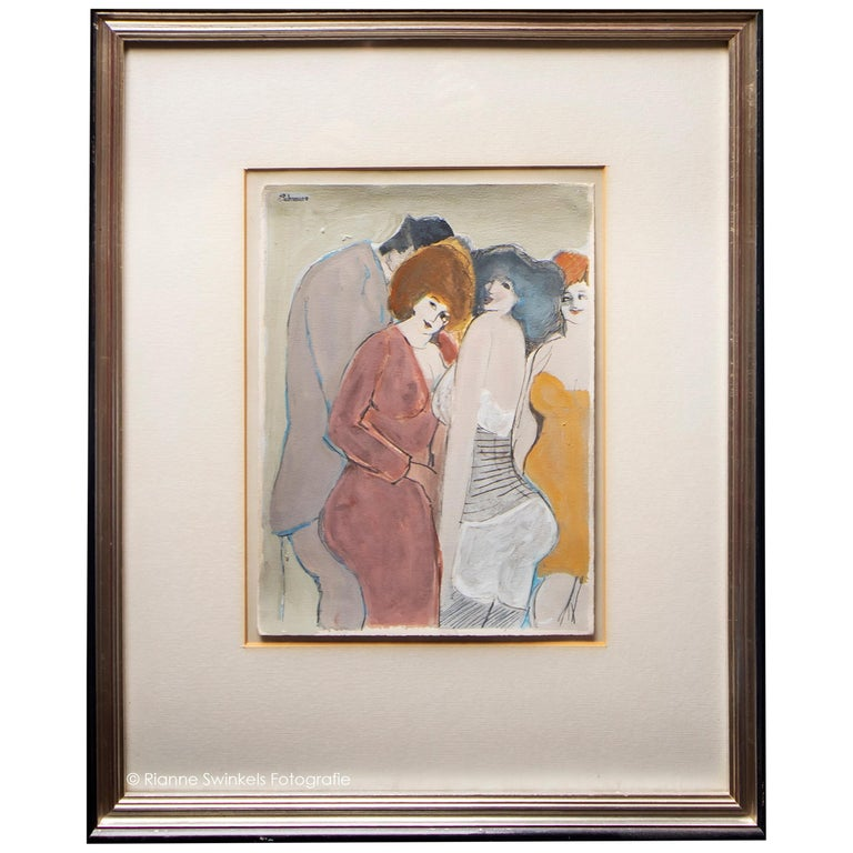 David Schneuer - Three Ladies and a Gentleman - Gouache on Paper, Framed For Sale