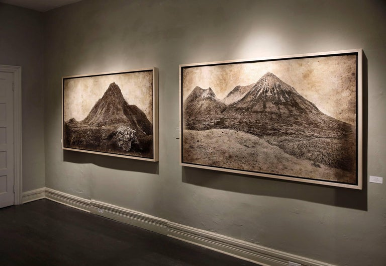 Cuillin Hills: Large Rustic Sepia Landscape Photograph of Mountains in Scotland - Contemporary Mixed Media Art by David Seiler