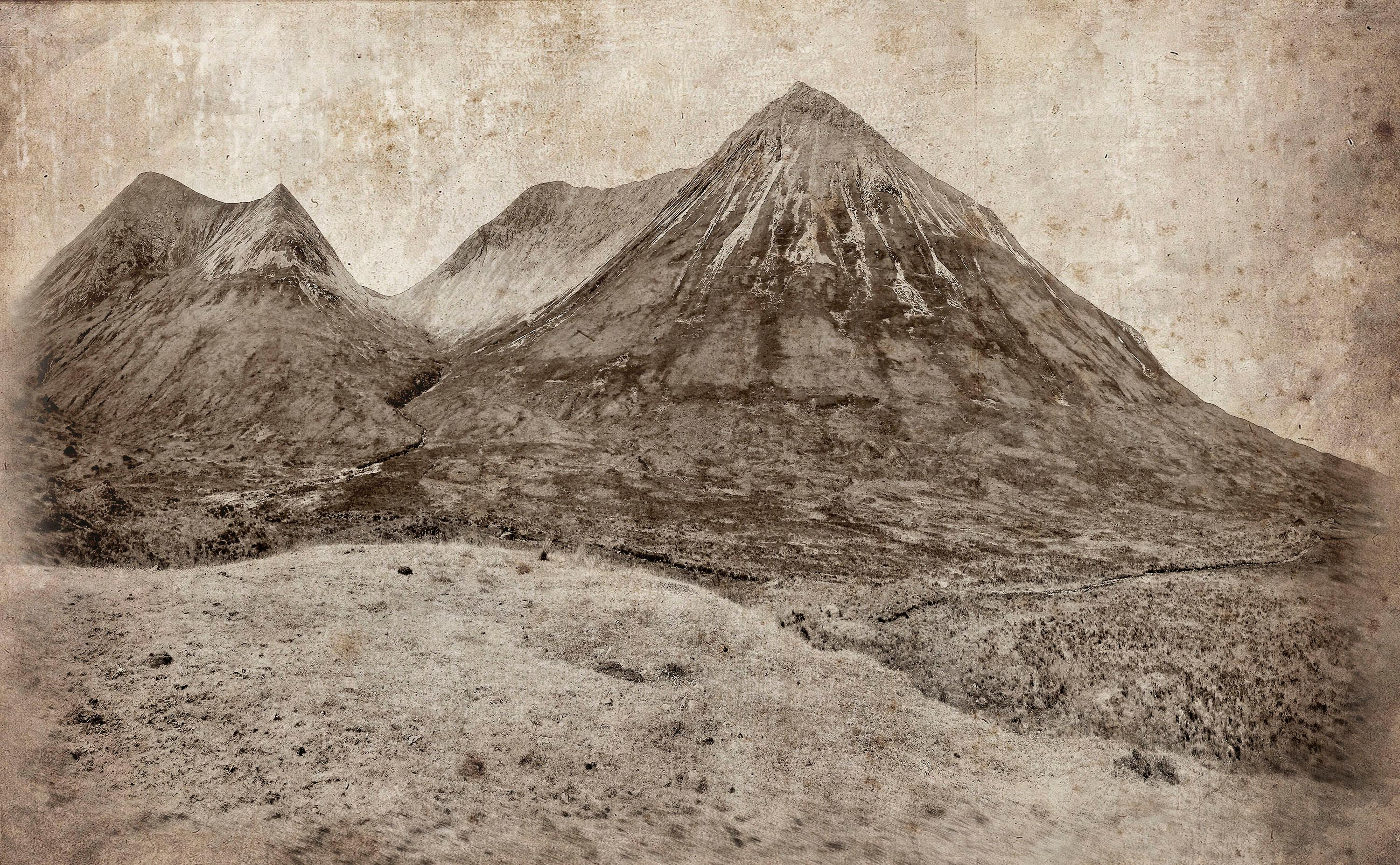 Cuillin Hills: Large Rustic Sepia Landscape Photograph of Mountains in Scotland