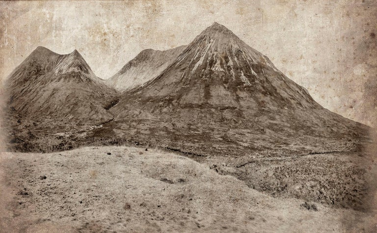Cuillin Hills: Large Rustic Sepia Landscape Photograph of Mountains in Scotland - Mixed Media Art by David Seiler