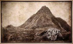 The Storr: Large Rustic Sepia Landscape Photograph of Mountains in Scotland