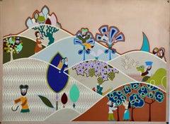 Israeli Modern Tu BiShvat Lithograph Silkscreen David Sharir Holiday Serigraph