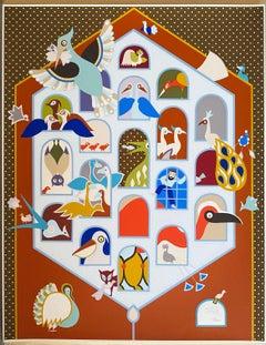 Israeli Naive Folk Art Birdhouse Silkscreen Lithograph David Sharir Birds