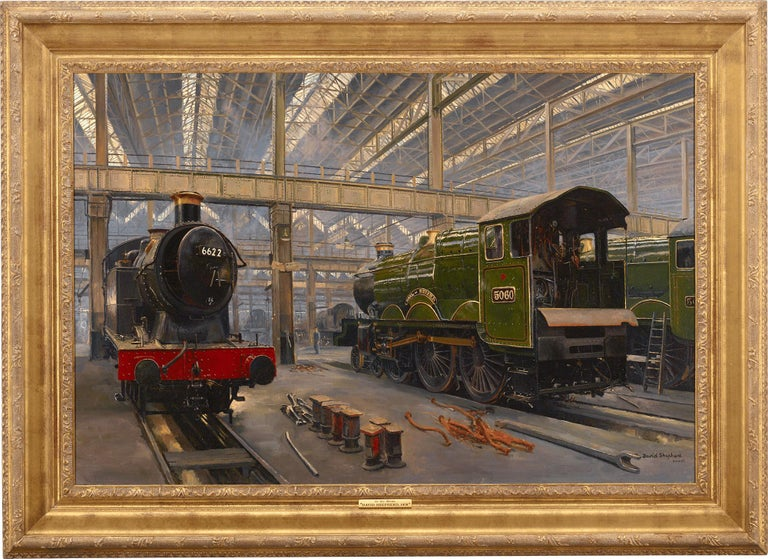 In the Sheds, Swindon - Painting by David Shepherd