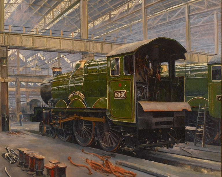 In the Sheds, Swindon - Gray Landscape Painting by David Shepherd