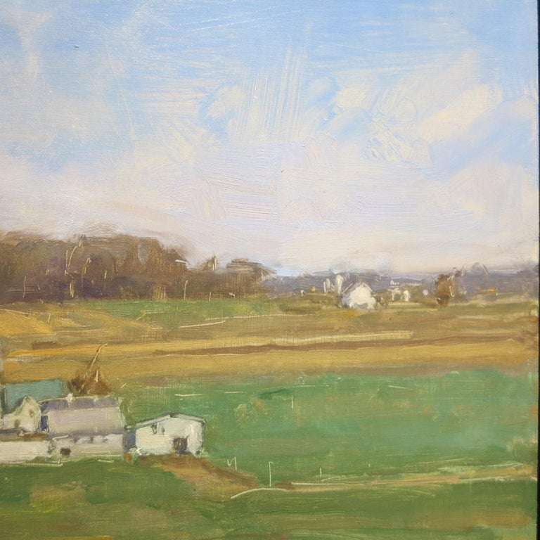 Beautiful landscape by American artist, David Shevlino (b.1962). Oil on wood panel measures 14 x 15.5 inches. Signed and dated lower right. Signed, titled and dated en verso.