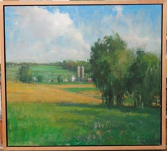 Landscape Farm Oil Painting David Shevlino Two Silos