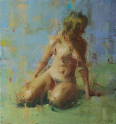 Nude on Green / figurative oil on canvas