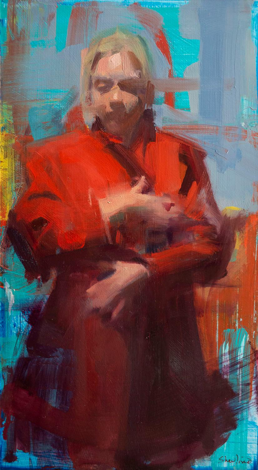 Red Coat - figurative painting of a woman in a red trench coat