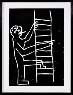 David Shrigley, Climbing Man, Woodcut, 2005