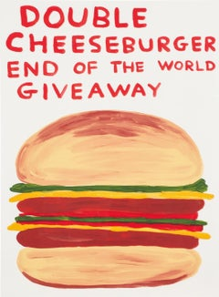 Double Cheeseburger End of the World Giveaway -- Screen Print, Food, by Shrigley