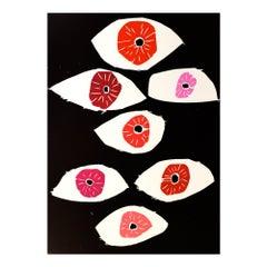 Eyes, Woodcut, Contemporary Art, 21st Century Pop Art
