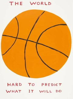 The World -- Screen Print, Sports, Basket Ball, Text Art by David Shrigley