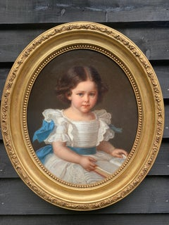 19th century Austrian Portrait of a young girl in white dress with blue bows