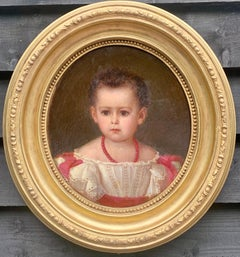 19th century Austrian Portrait of a young girl in white dress with Red bows