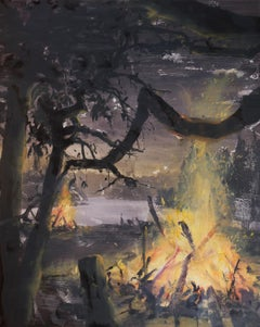 Solstice Fires-Lake Shore-Night