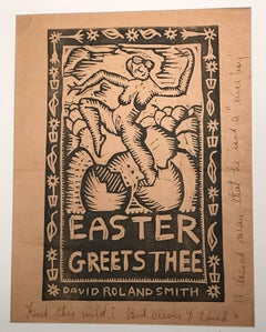 Woodcut print by David Smith, Easter Greets Thee, 1930s