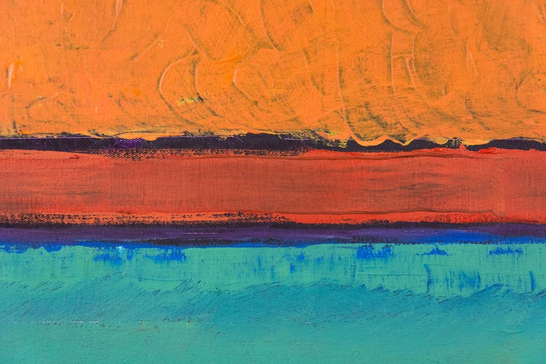 A scaffold of dark violet gives structure to painterly hot orange and teal bands in this confident abstract canvas by David Sorensen. The curated strata of fresh  colors points to an ocean horizon at sunrise.  Through his painterly modern