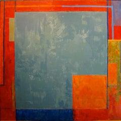 Gaze Big Green - painterly geometric abstraction in crimson, orange, teal