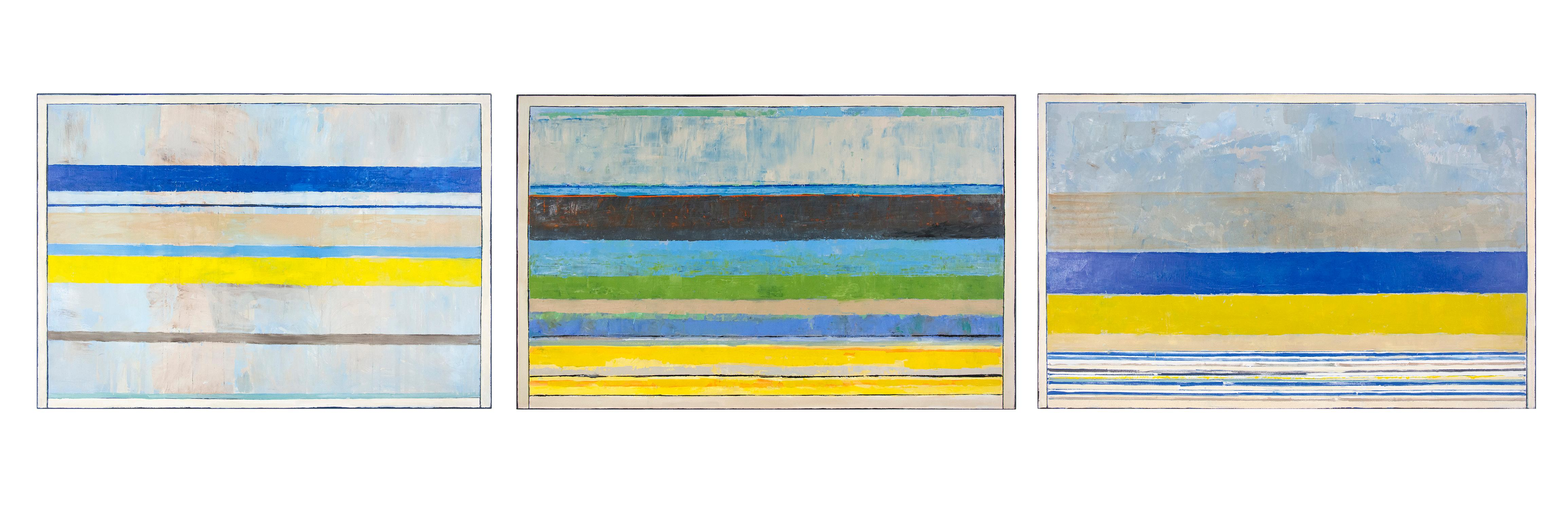 Triptych - bands of aqua yellow white in a modernist tripytych