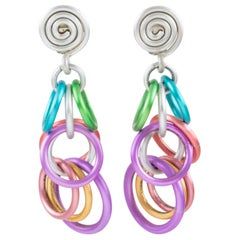 David Spada Dangle Clip Earrings Multicolor Pastel Aluminum